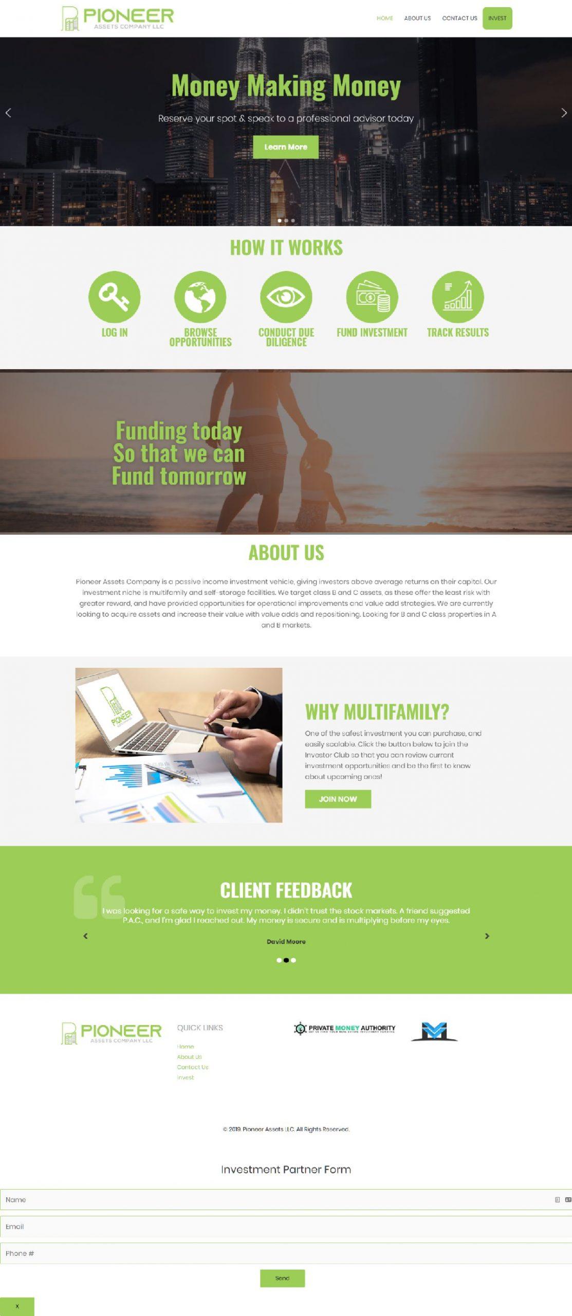 investpioneer assets llc landing page web design conroe