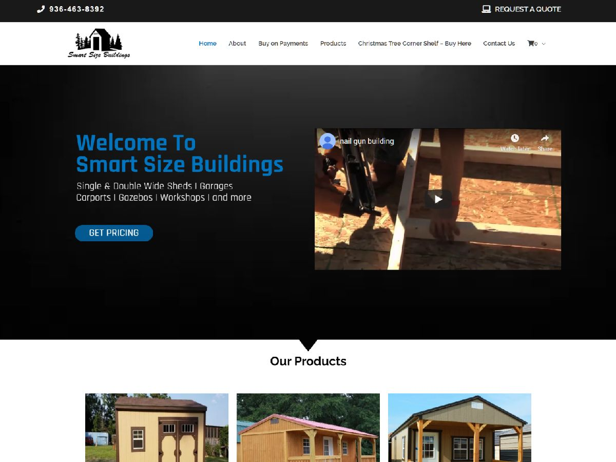 smart size buildings landing page web design conroe
